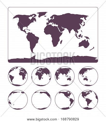 World Map flat image projection representing the surface of the Earth and three-dimensional, spherical, scale model of Earth in set of globes. Guide for navigation, travelling round the world