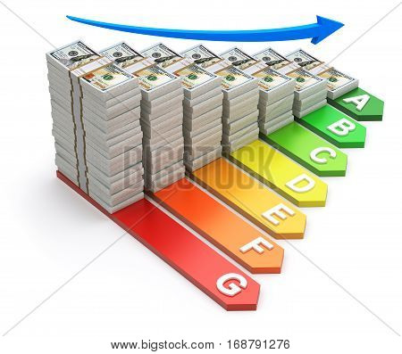 Energy efficiency concept with new hundred dollars banknotes - 3D illustration
