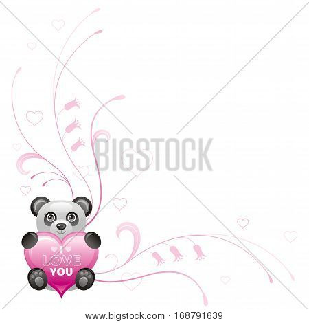 Happy Valentines day border. I love you, text lettering. Toy panda isolated frame, white background. Heart romance, cute romantic dating vector illustration. Holiday corner design. Flat cartoon sign