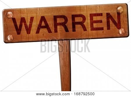 warren road sign, 3D rendering