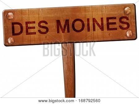 des moines road sign, 3D rendering
