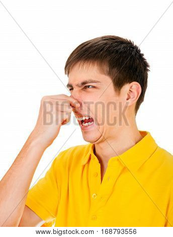 Displeased Young Man feel a Stink Isolated on the White Background