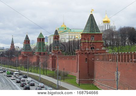 MOSCOW, RUSSIA - APRIL 14, 2015: View of the Moscow Kremlin, cloudy April day. Moscow