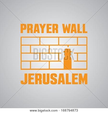 Jerusalem, Israel. Western Prayer wall. icon or logo template