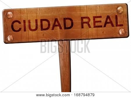 Ciudad real road sign, 3D rendering
