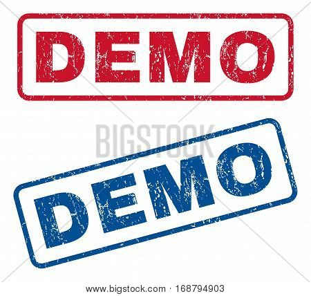 Demo text rubber seal stamp watermarks. Vector style is blue and red ink caption inside rounded rectangular shape. Grunge design and unclean texture. Blue and red signs.