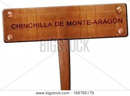 Chinchilla de monte-aragon road sign, 3D rendering