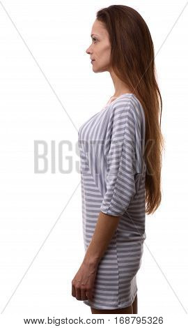 Profile Of Confident Casual Woman Looking Forward
