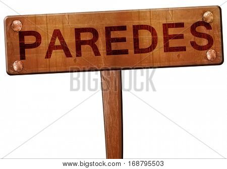Paredes road sign, 3D rendering