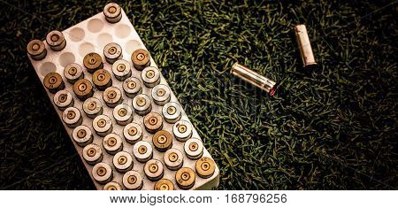 Copper Jacketed Of Blank Gun Bullets For Sport In The Box. Cartridges Blank Gun Box On Sport Field.