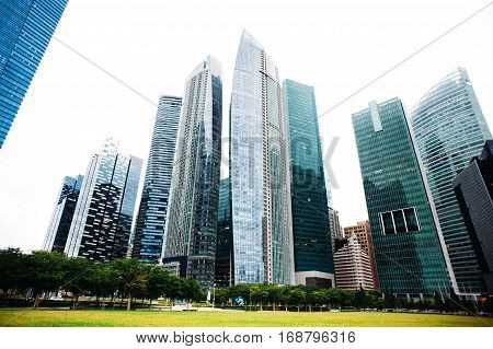 Skyscraper Business Office, Corporate Building In Singapore. Skyline of modern megalopolis.