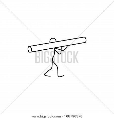 Cartoon icon of sketch stick figure vector in cute miniature scenes.