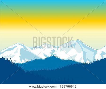 Beautiful landscape morning in mountain in winter