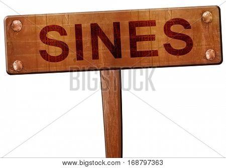 Sines road sign, 3D rendering