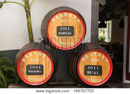 FUNCHAL MADEIRA PORTUGAL - SEPTEMBER 1 2016: The museum - storage of expensive vintage wine Madera. Huge barrels are marked by data of wine