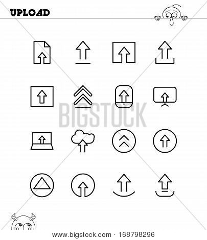 Upload flat icon set. Collection of high quality outline symbols for web design, mobile app. Upload vector thin line icons or logo.