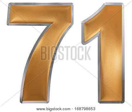Numeral 71, Seventy One, Isolated On White Background, 3D Render