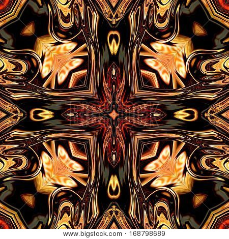 Computer generated illustration with multicolour abstract kaleidoscopic pattern.