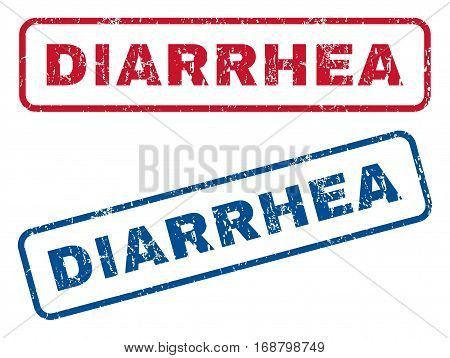Diarrhea text rubber seal stamp watermarks. Vector style is blue and red ink tag inside rounded rectangular banner. Grunge design and scratched texture. Blue and red stickers.