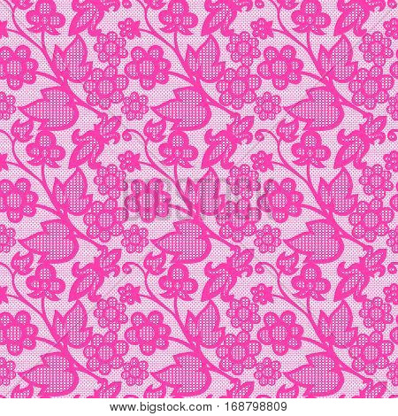 Floral pink mehendi pattern ornament. Vector illustration mehendi pattern in asian textile style india tribal ornate. Ethnic ornamental lace vintage mehendi pattern mandala abstract textile