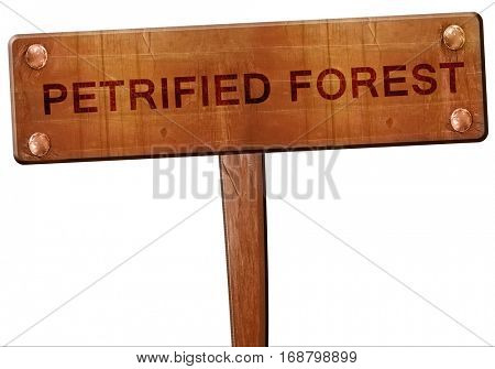 Petrified forest road sign, 3D rendering