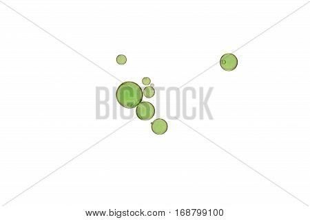 Green bubbles soars over a white background