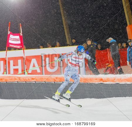 STOCKHOLM SWEDEN - JAN 31 2017: Veronika Velez Zuzulova (SVK) jumping in the downhill skiing in the parallel slalom alpine event Audi FIS Ski World Cup. January 31 2017 Stockholm Sweden