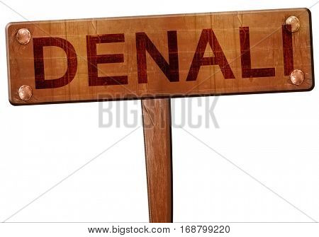 Denali road sign, 3D rendering
