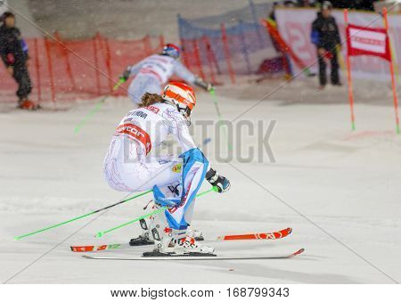 STOCKHOLM SWEDEN - JAN 31 2017: Petra Vihova (SVK) and competitor in the parallel slalom downhill skiing at the Alpine Audi FIS Ski World Cup event. January 31 2017 Stockholm Sweden