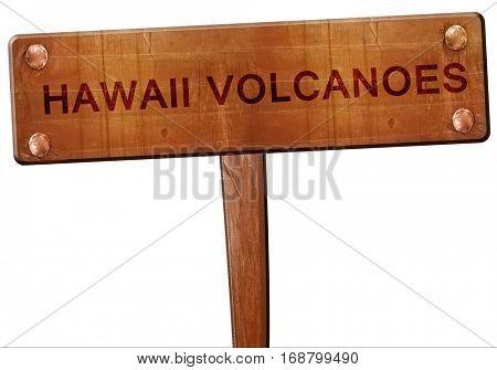 Hawaii volcanoes road sign, 3D rendering