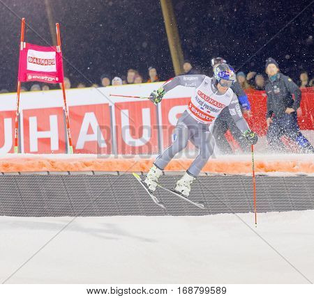 STOCKHOLM SWEDEN - JAN 31 2017: Alexis Pinturault (FRA) prepare a jump in the downhill skiing in the parallel slalom alpine event Audi FIS Ski World Cup. January 31 2017 Stockholm Sweden