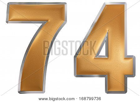 Numeral 74, Seventy Four, Isolated On White Background, 3D Render