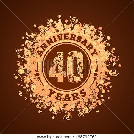 40 years anniversary vector icon, logo. Graphic design element, golden decoration for 40th anniversary card