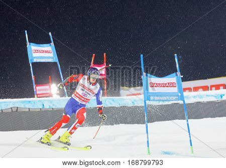 STOCKHOLM SWEDEN - JAN 31 2017: Dave Ryding (GBR) downhill skiing when it's snowing in the parallel slalom alpine event Audi FIS Ski World Cup. January 31 2017 Stockholm Sweden