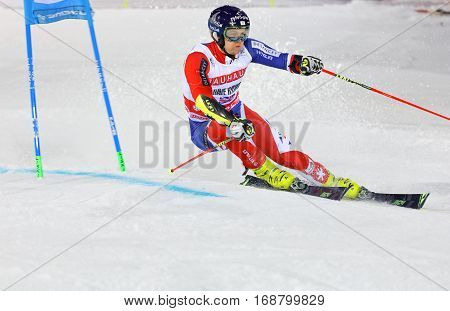 STOCKHOLM SWEDEN - JAN 31 2017: Dave Ryding (GBR) downhill skiing in the parallel slalom alpine event Audi FIS Ski World Cup. January 31 2017 Stockholm Sweden