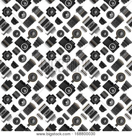 Seamless pattern with flat cameras with flash. Vector background photo lens for your creativity. Optical wallpaper modern illustration photography equipment.