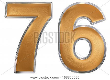 Numeral 76, Seventy Six, Isolated On White Background, 3D Render