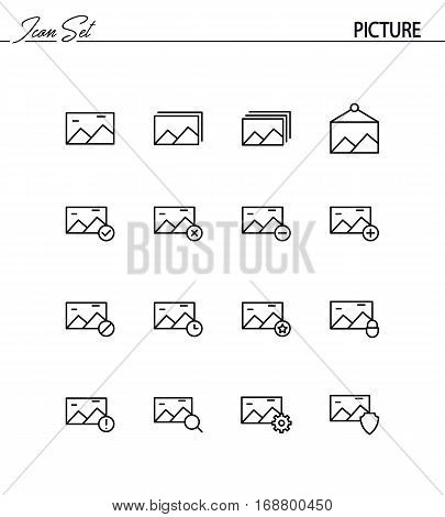 Picture flat icon set. Collection of high quality outline symbols for web design, mobile app. Picture vector thin line icons or logo.