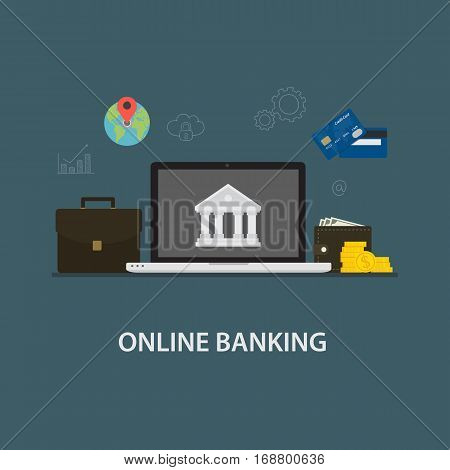 Internet Banking. Laptop with Bank Symbol and Banking Icon