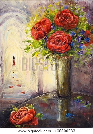 Original oil painting of beautiful vase or bowl of fresh flowers and woman in distance on canvas.Modern Impressionism modernismmarinism