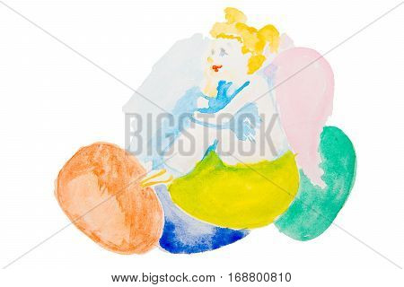 easter angel with color easter eggs watercolor isolated