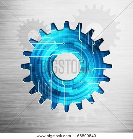 Abstract digital image work gear icon picture concept with circuit microchip background on polish metal plate