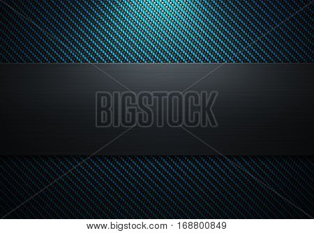 Abstract modern carbon fiber with polish metal plate on center texture material design for background graphic design