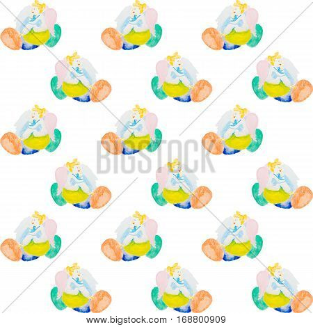 easter angels with color easter eggs watercolor background isolated