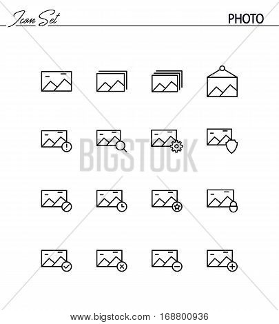 Photo flat icon set. Collection of high quality outline symbols for web design, mobile app. Photo vector thin line icons or logo.