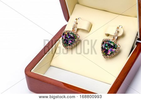 golden earrings with big gemstone mystic Topaz