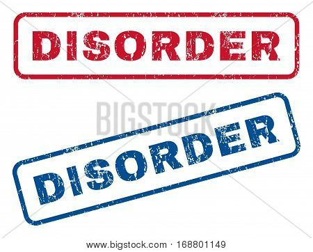 Disorder text rubber seal stamp watermarks. Vector style is blue and red ink tag inside rounded rectangular shape. Grunge design and unclean texture. Blue and red stickers.