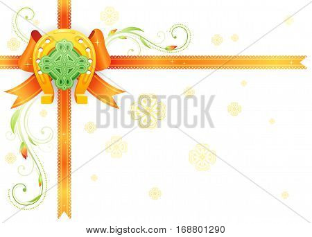 Golden lucky horseshoe corner. Orange ribbon bow decoration. Happy Saint Patrick day banner, isolated background. Irish celtic knot cross, shamrock icon, plant frame. Northern Ireland holiday flyer