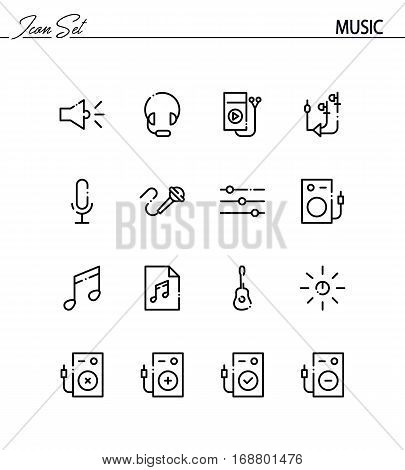 Music flat icon set. Collection of high quality outline symbols for web design, mobile app. Music vector thin line icons or logo.