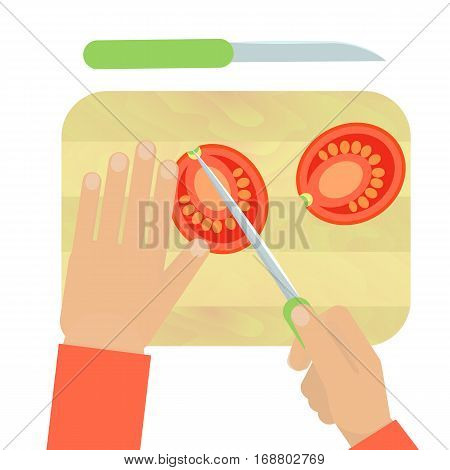 Hands Cutting Carrot